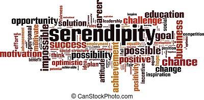 Serendipity word cloud concept. Vector illustration
