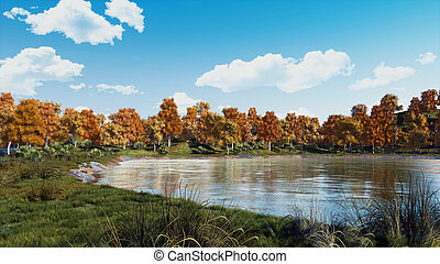 Serene autumn day on the shore of calm forest lake