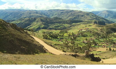 Serene Country Side Village Landscape, Andes, Peru - Medium...