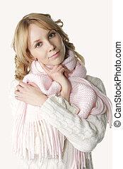 Serene girl in scarf