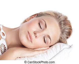 Serene girl sleeping - Closeup portrait of cute blond serene...