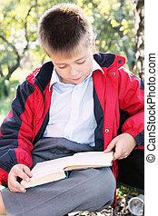 Serene kid reading book in park