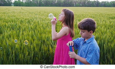 serene kids blowing up the soap bubbles on field - serene...