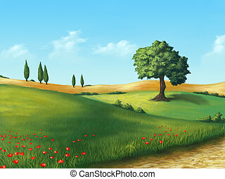 Farmland in Tuscany, Italy. Original digital illustration.