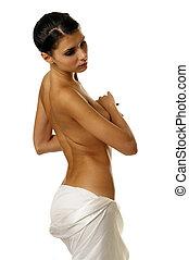 Serene - Portrait of the beautiful naked brunette girl