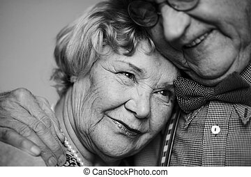 Serenity - Black-and-white image of senior female being ...