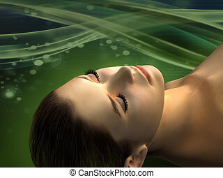 Female head with closed eyes over a green wavy background. Female figure created from scratch, no model release necessary. Digital illustration.