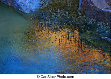 Serenity - Reflections of the top of the cliffs above Grape...