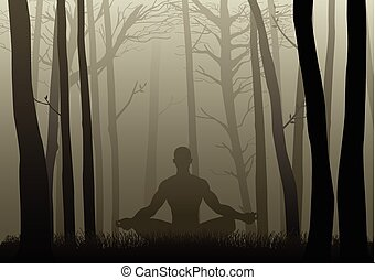 Silhouette of a man figure meditating in the misty woods