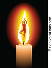 Silhouette of a woman on the candle light
