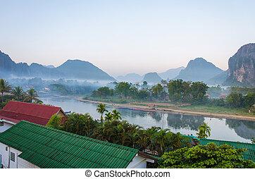 sereno, canção, vieng, nam, vang, laos, paisagem rio