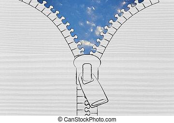 sereno, metafora, cielo, chiusura lampo, apertura, ottimismo
