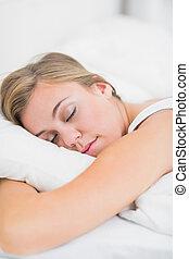 sereno, mulher, dormir