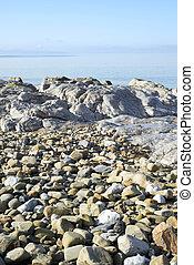 sereno, pedras, sobre, dia