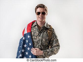 sereno, seu, país, orgulhoso, soldado, macho