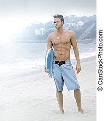 sereno, spiaggia, surfer