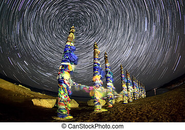 Serge Poles. Starry night over the island Olkhon. Burkhan Cape