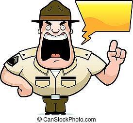 sergent, hurlement, foret, dessin animé