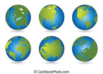 seria, kula, 3d, mapa, świat