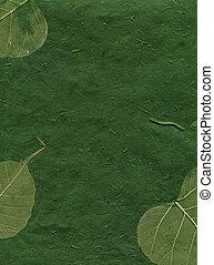 seria, liście, -, struktura, papier, zielony