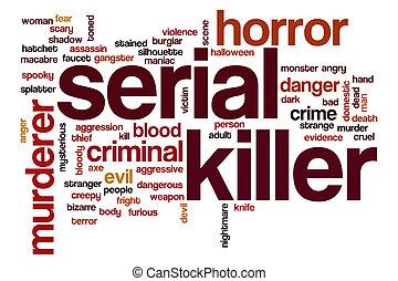 serial, concepto, palabra, asesino, nube