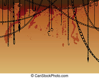 Serial killer background - Hanging chains with hooks,...