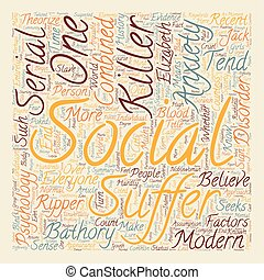Serial killers and social anxiety text background wordcloud concept