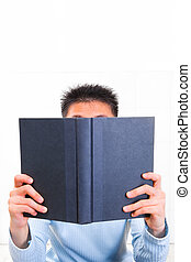 seriamente, livro leitura, homem