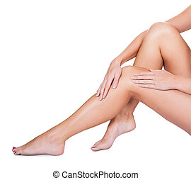 serico, donna, lei, caressing, liscio, gambe