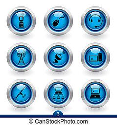 serie, 3, icono, comunicación