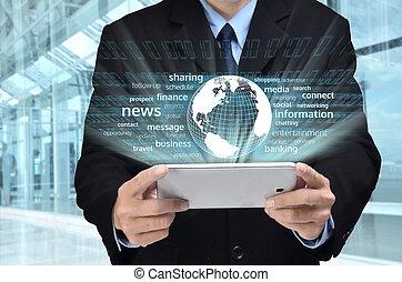 serie, affari, internet