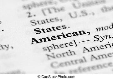 serie, americano, -, dizionario