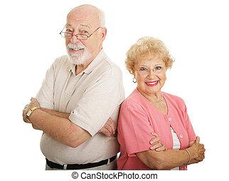 serie, -, attraente, ottico, seniors