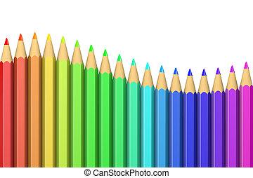 serie, av, färgrik, crayons