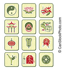 serie, bambú, |, chino, iconos