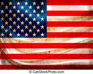 serie, bandera, grunge, estados unidos de américa