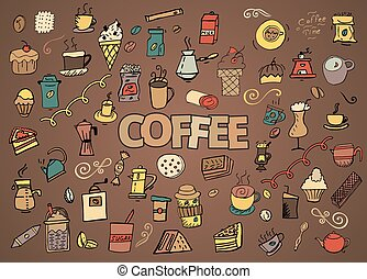 serie caffè, colorito, scarabocchiare, mano, simboli, tema, vettore, oggetti, tempo, disegnato, cartone animato