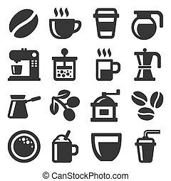 serie caffè, icone, fondo., vettore, bianco