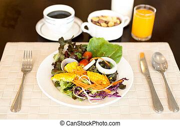 serie caffè, insalata, sano, succo, verdura
