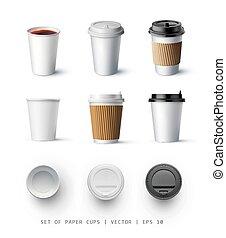 serie caffè, mockup, cima, tazza, isolato, illustrazione, o, realistico, vettore, tea., mockup., vista., fronte, lato