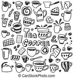 serie caffè, tè, -, doodles, campanelle