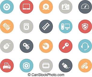serie, clásico, iconos de computadora