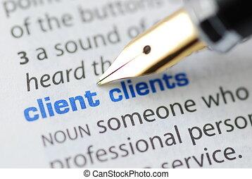 serie, cliente, -, dizionario