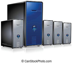 serie, computadora, servidores