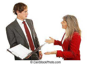 serie, confronto, -, mentore, capo
