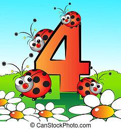 serie, crianças, -, números, #04