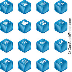 serie, cubo, conjunto, icono, medios