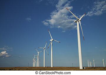 serie, de, energía eólica, generadores