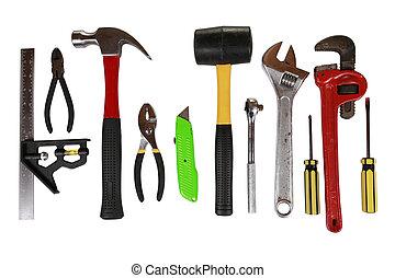 serie, de, herramientas, aislado