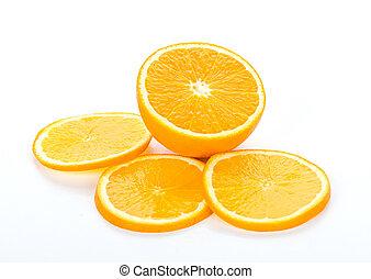 serie, di, arancia, frutta, fondo, isolato, bianco